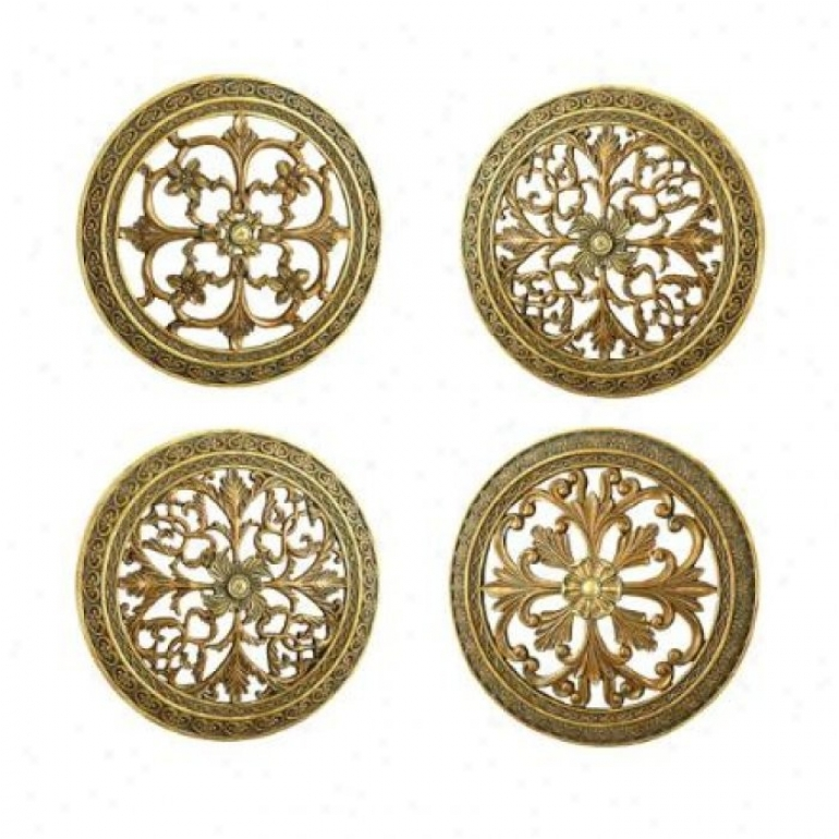 Set Of 4 Round Plaques With Embossed Design In Antique Finish