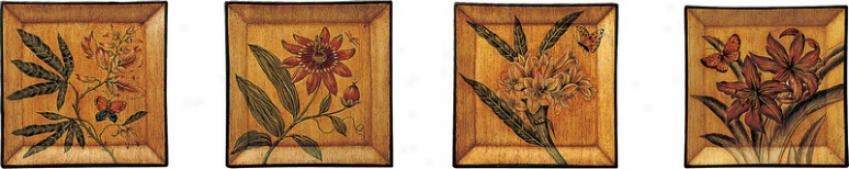Set Of 4 Square Porcelain Plates With Botaniccal Theme