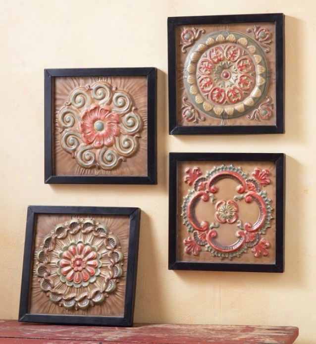 Set Of 4 Wall D�cors With Antique Ceiling Tile Design