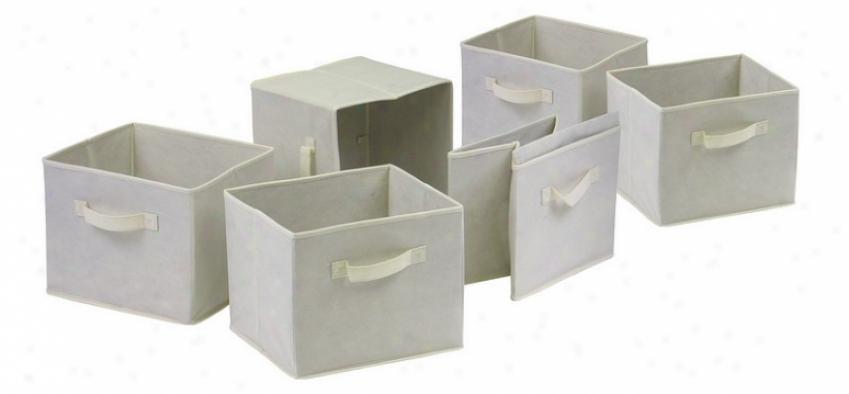 Set Of 6 Foldable Light Beige Manufactured cloth Storage Baskets