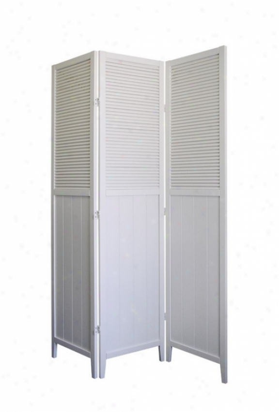 Shutter Room Divider Screen I White Finish