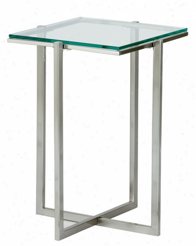 Small Pedestal Table - Glacier Glass Top With Satin Steel Legs