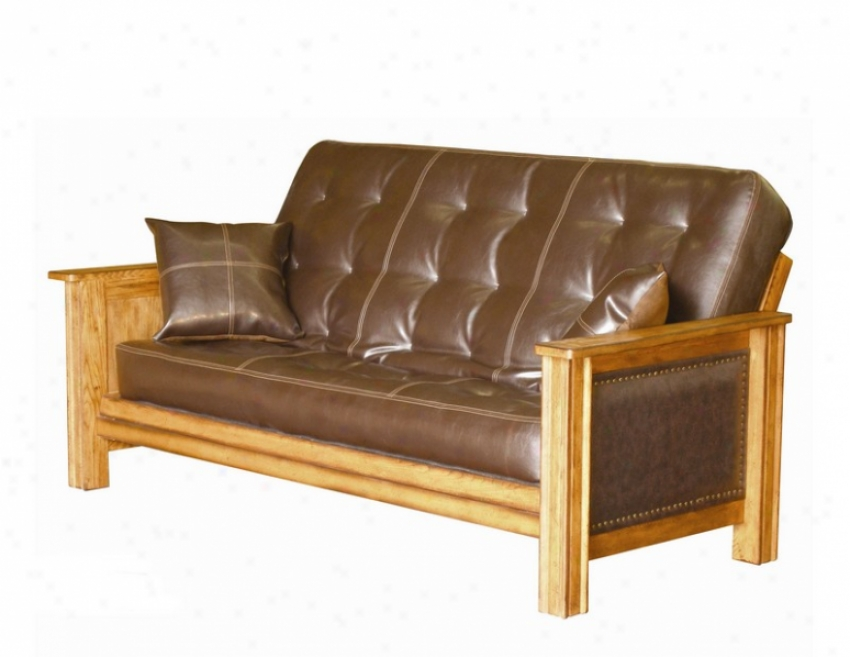 Solid Futon Bed Frame Padded Arm Design With Mattress In Distressed Oak