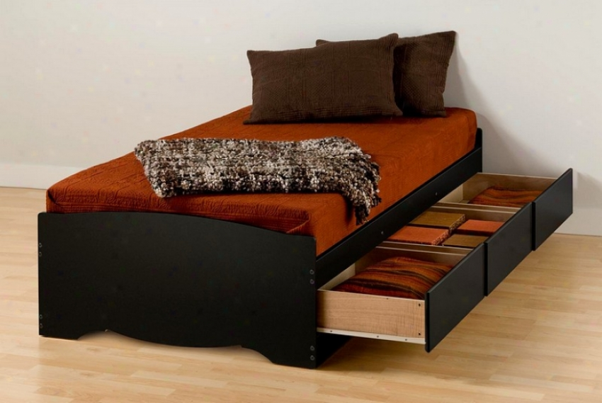 Sonoma Black Xl Long Twin Size Piatform Bed W/drawer