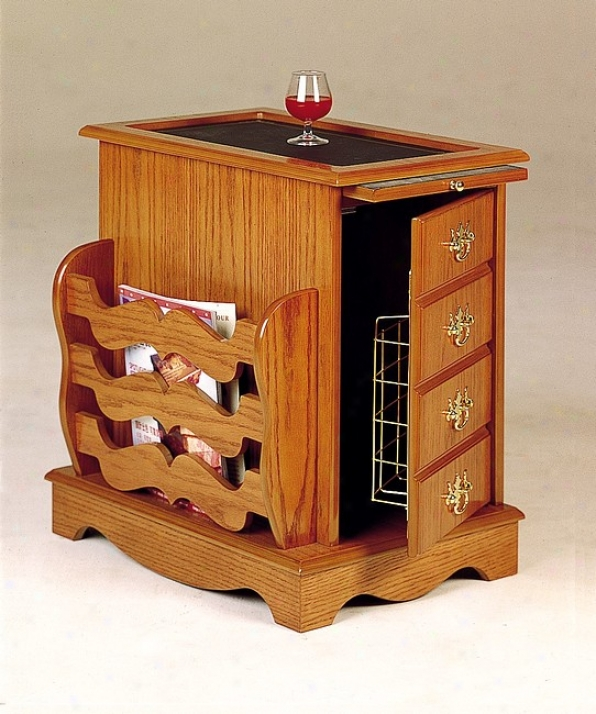 Southwestern Style Warehouse Cabinet Side Table Rack With Storage In Oak Finish Wood