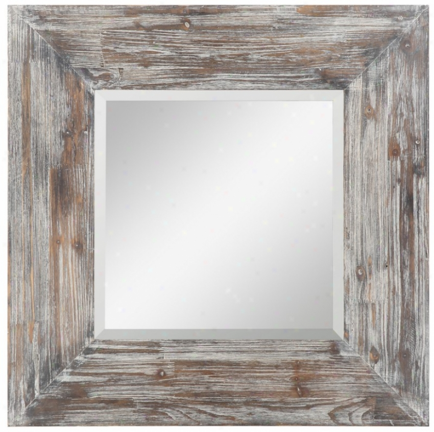 Equality Beveled Wall Mirror In Rustic White Wash Finish
