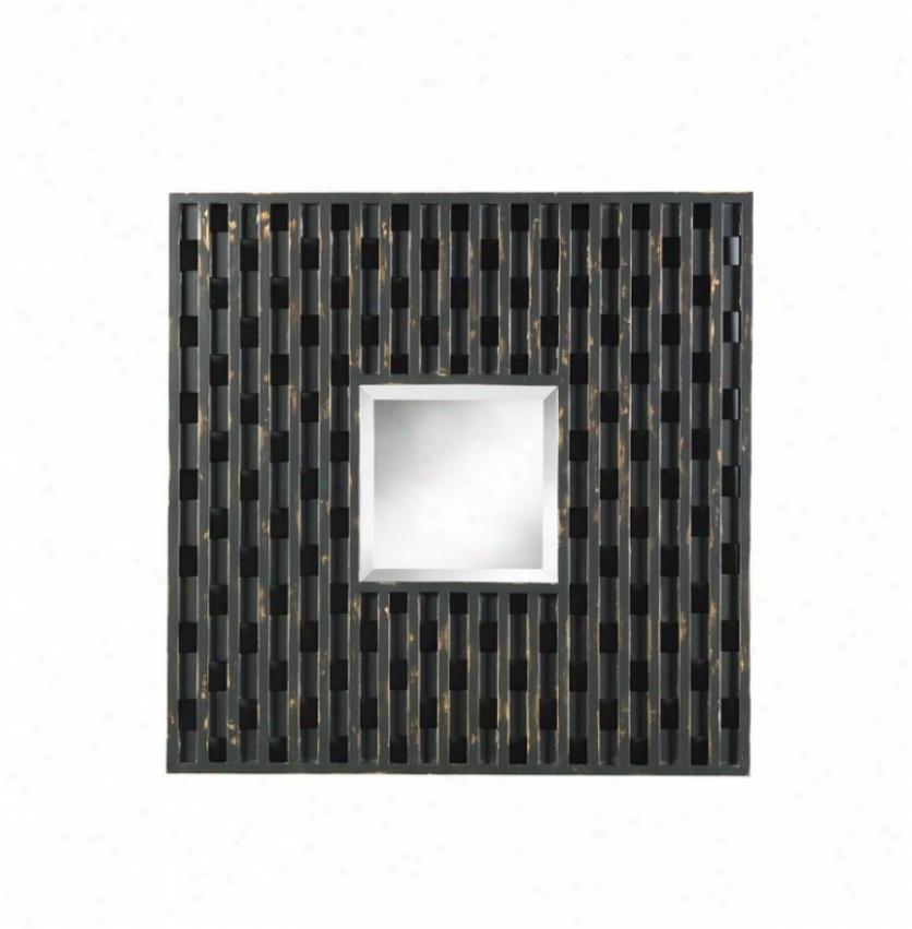 Square Wall Mirror Checker Design Frame In Distressed Black Finish