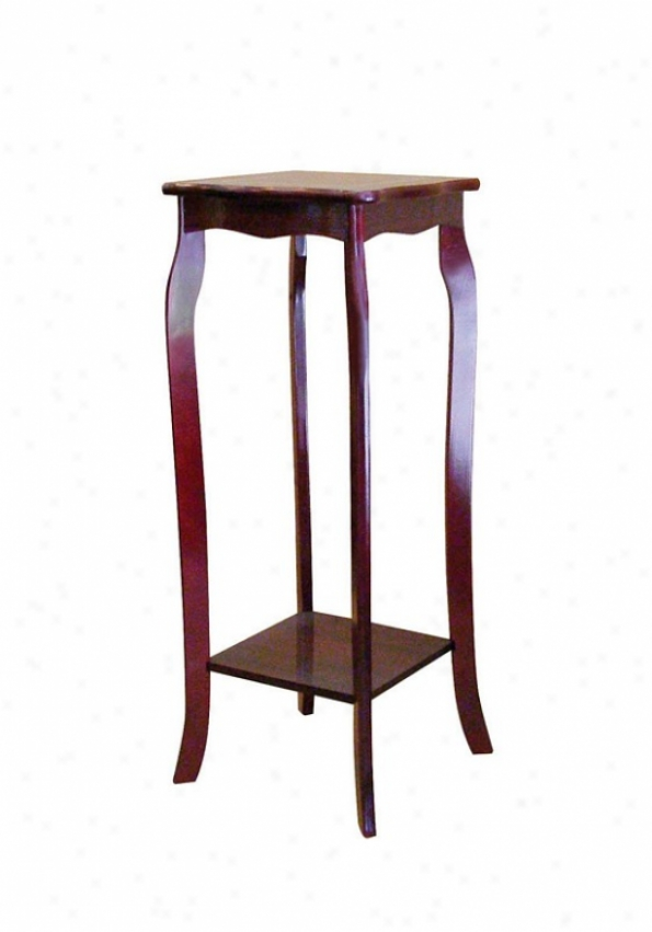 Square Wood Plant tSand With Curved Legs In Cherry Finish