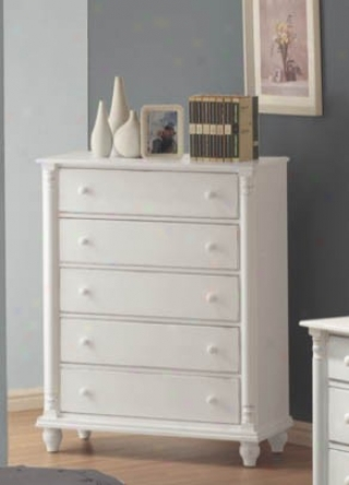Storage Chest With Bun Shaped Legs In White Finish