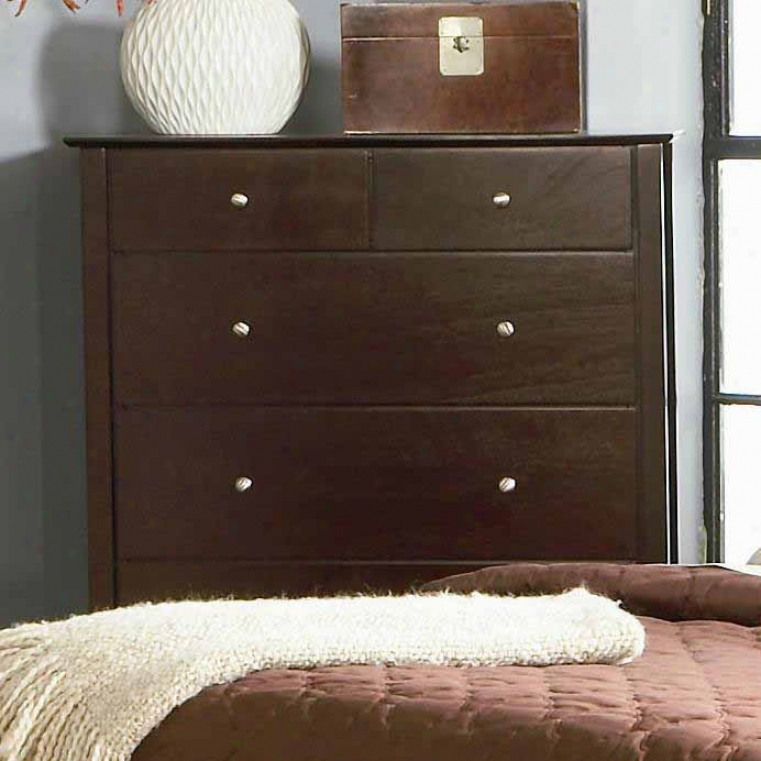 Storage Chest Wth Silver Look Knobs In Rich Merlot Finish