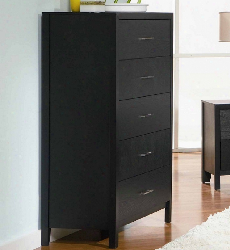 Storage Chest With Wood Graain In Black Finish