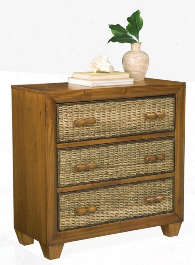 Storage Chest Wit Woven Drawers In Honey Finish