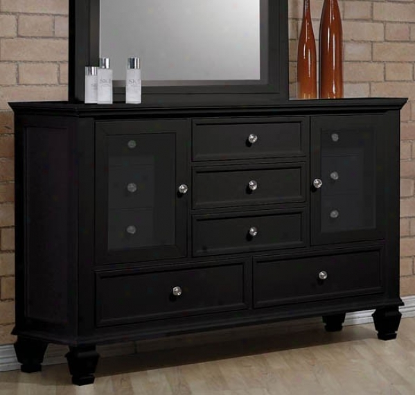 Storage Dresser With Glass Doors In Black Finish