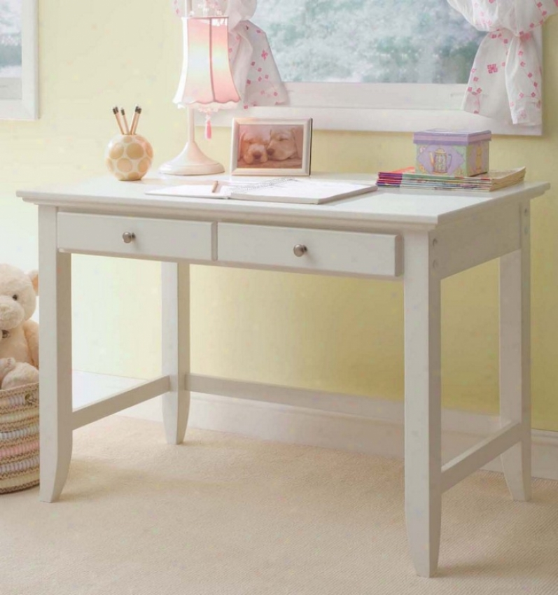 Student Desk Contemporary Style In White Finish