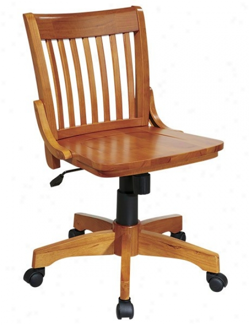 Swivel Bankers Chaair With Wood Seat In Frui5wood Finish