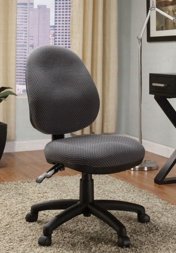 Swivel Office Chair With Adjustable Back In Grey Fabric