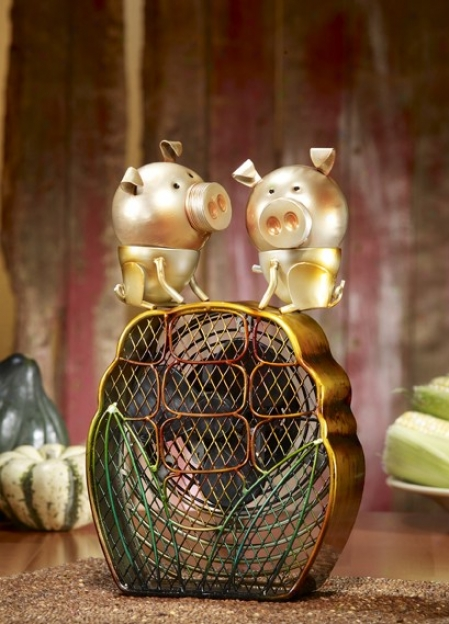 Table Fan With Pigs Figurine Design In Multi Finish
