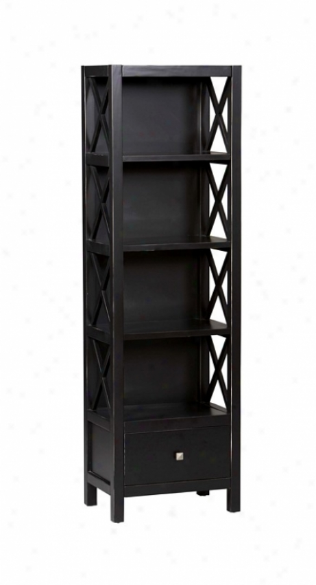 Tall Bookcase - Anna Collection Antique Black Finish