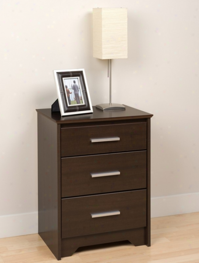 High Darkness Stand With Three Drawers In Espresso Finish