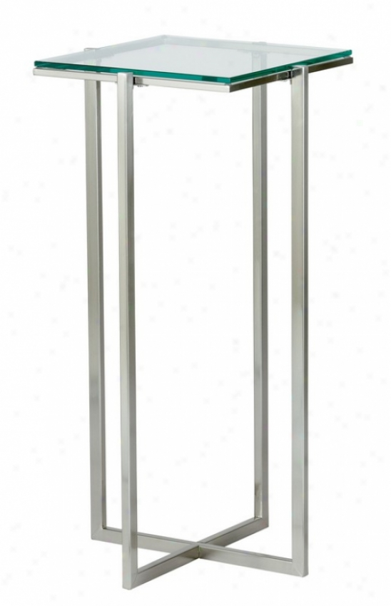 Tall Pedestal Tablee - Glacier Glass Crop With Satin Steel Legs