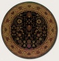 3'11&quot Round Area Rug Classic Persian Pattern In Black Color