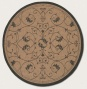 8'6&quot Round Region Rug Scroll Floral Design In Cocoa