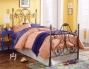 Aynsley Bed In Majestique Finish Metal Twin Bed W/bed Frame Head & Footboard