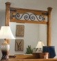 Bedroom Mirror With Spiral Metal Design In Distress Pine Perfect