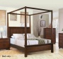Californi aKing Size Canopy Bed In Rich Borwn Finish