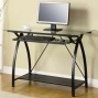 Meta1 Computer Desk With Glass Top In Gunmetal Finish