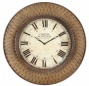 Wall Clock With Wicker Design In Rust Unit intimately Finish
