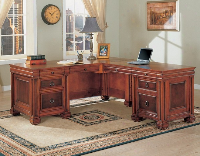 Traditional Cherry Brown Finish L Shaped Computer Desk W/storage
