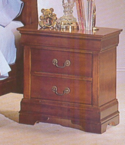 Traditional Cherry Finish Hardwood Nightstand Bedside Table