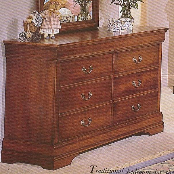 Traditional Cherry Finish Hardwood Storage Dresser