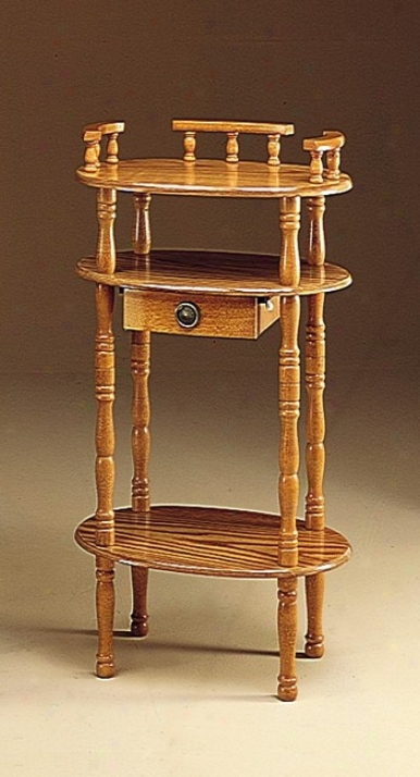 Traditional Oak End Wood Phone Stand/side Taable Furniture