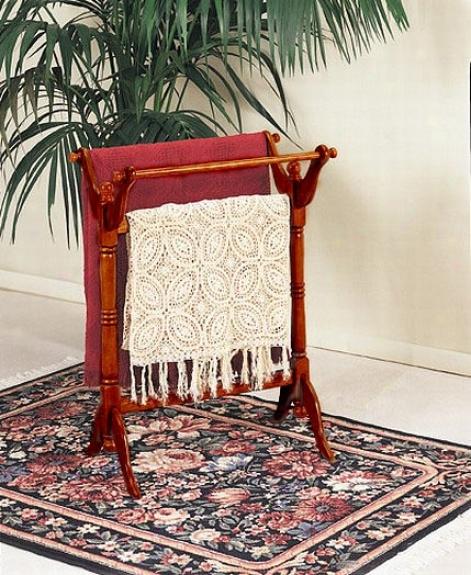 Traditional Oak Fniish Wood Towel Quilt Blanket Rack