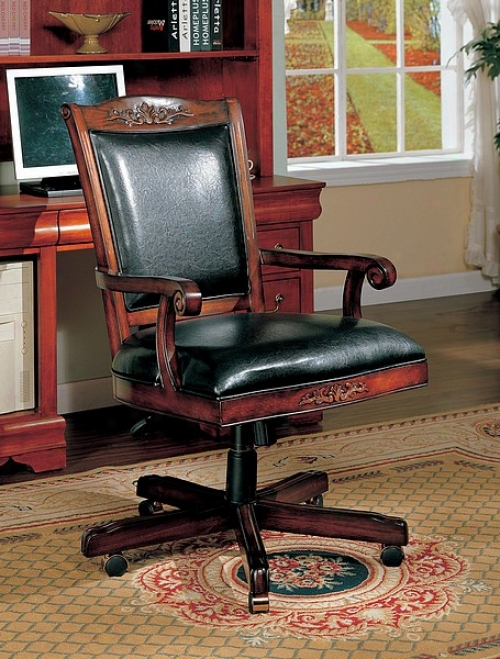 Traditional Style Black Leather & Cherry Finish Wood Office Chair