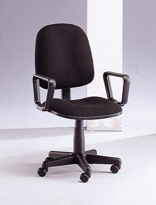 Traditional Style Fabric Office Chair Through  Armrest And Adjustable Swivel Seat In Black