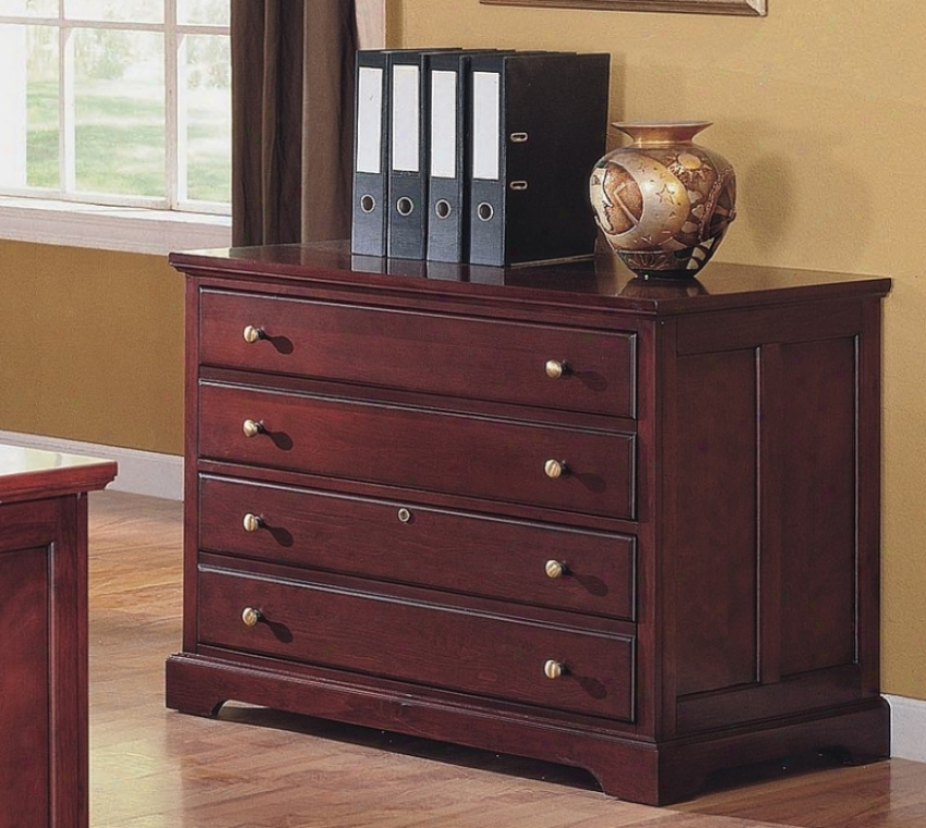 Trannsitional Style Cherry Finish Home Office Lateral Fie Cabinet