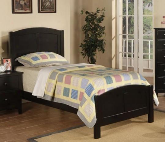 Twin Size Bed Contempporary Gnomon  In Black Finish