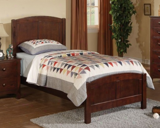 Twin Size Bed Contemporary Style In Brown Finish