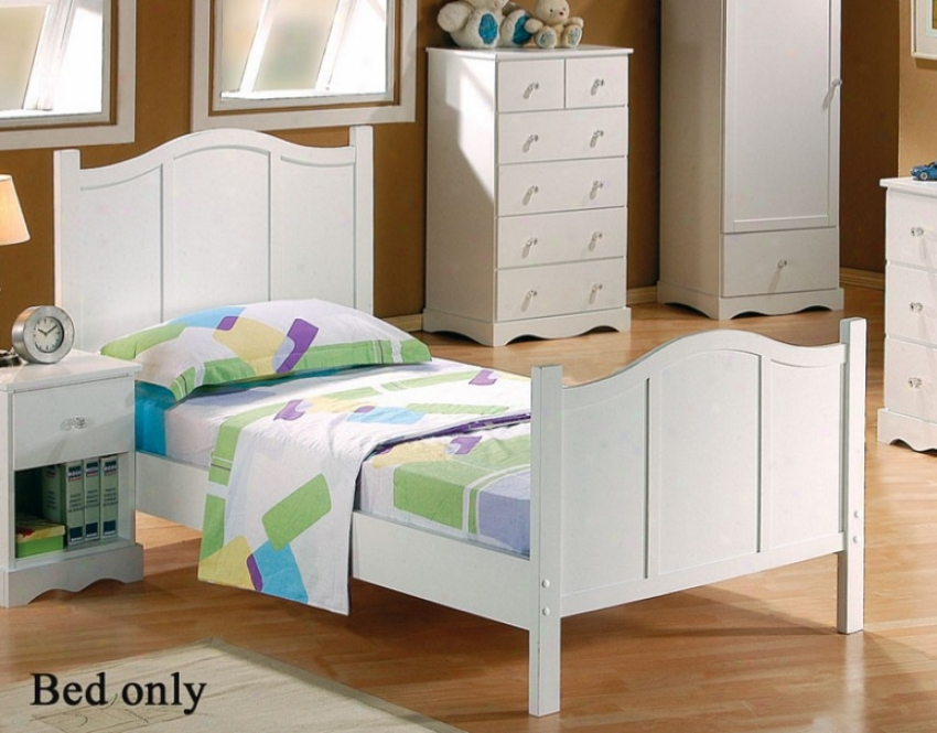 Twin Size Bed With Arched Headboard In White Finish