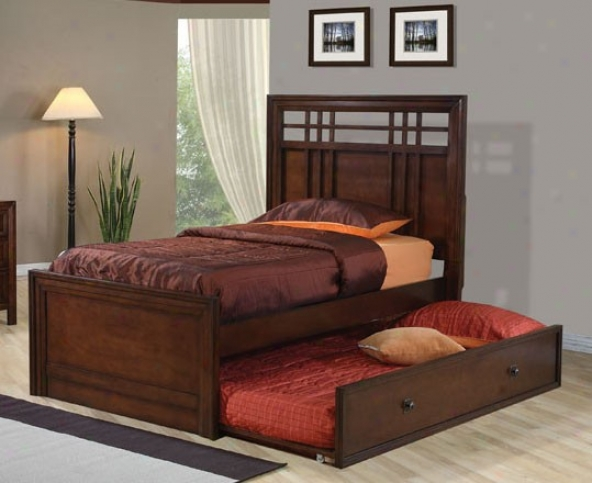 Twin Size Bed With Trundle Checker Design In Walnut Finish