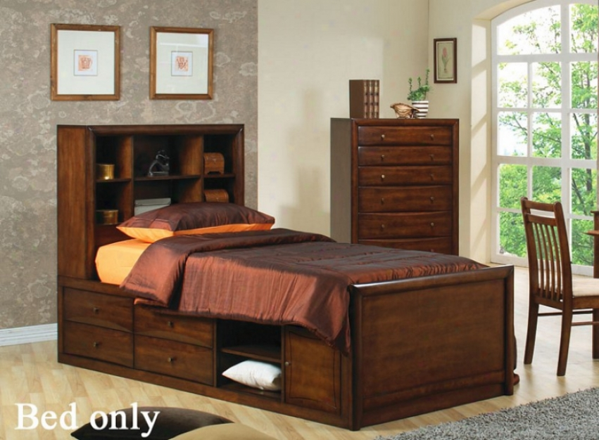 Twin Size Bookcase Chest Bed In Warm Brown Finish