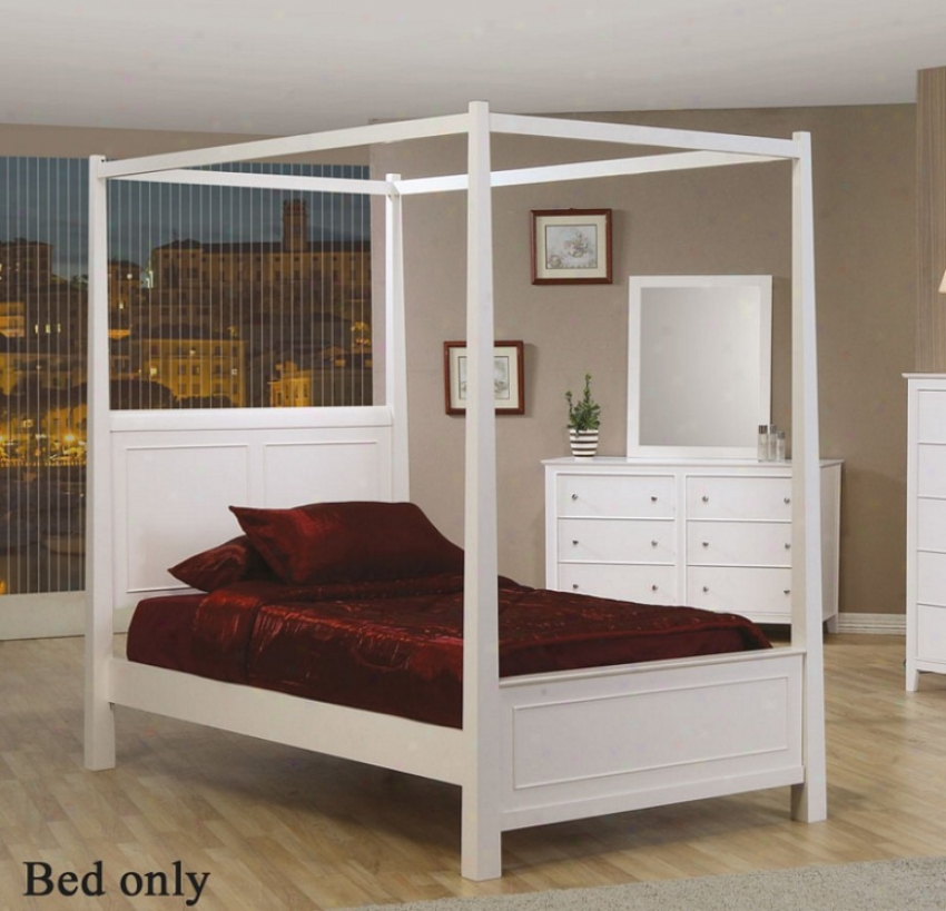 Twkn Size Canopy Poster Bed Cape Cod Styls In White Finish