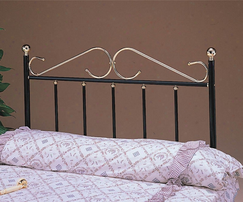 Twin Size Headboard With &quots&quot Design - Black And Brass