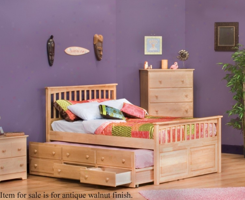 Twin Size Mate's Bed With 3 Drawer Trundle Bed Antique Walnut Finish