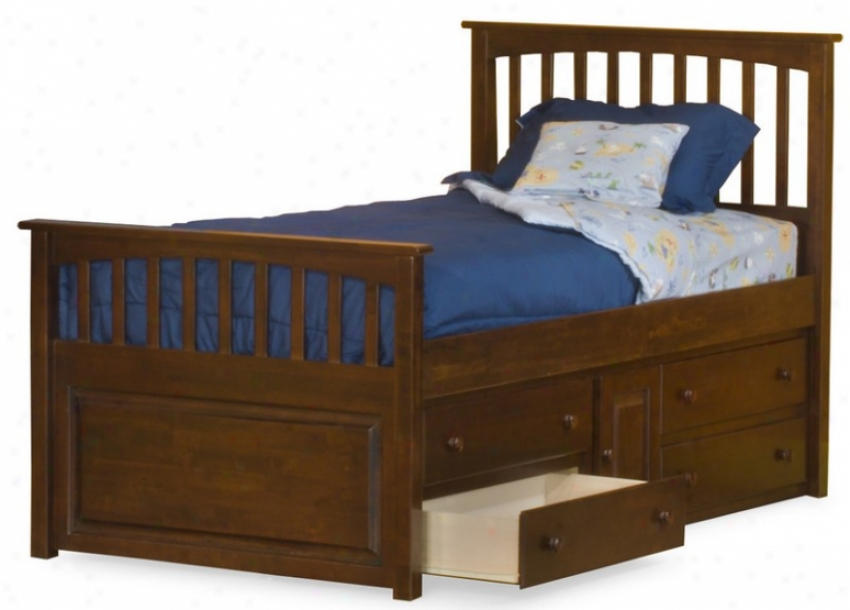 Twin Size Mate's Bed With Under Bed Storage Drawer Chest Antique Walnut Finiish