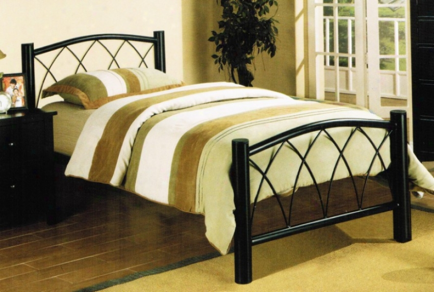 Twin Size Metal Bed In Espresso Finish
