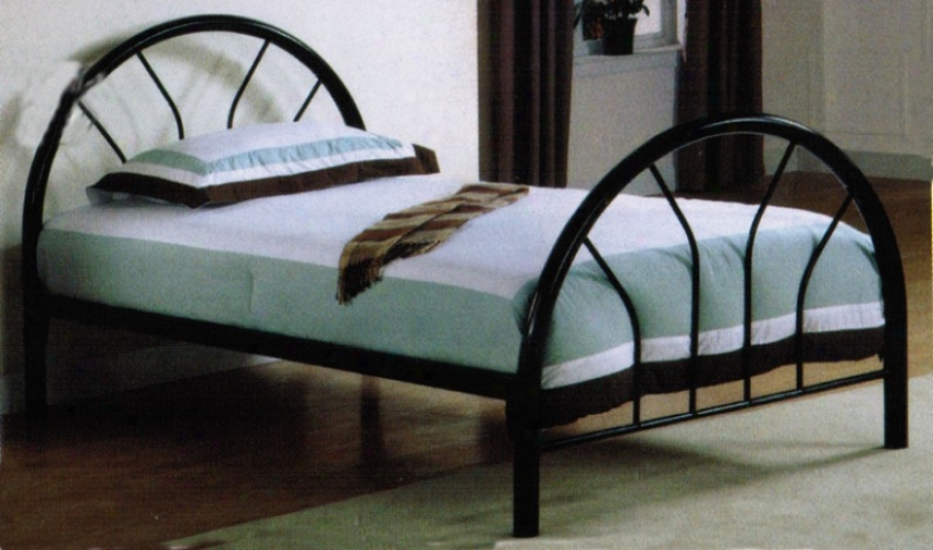 Twin Size Metal Bed With Fan Style In Black Finish